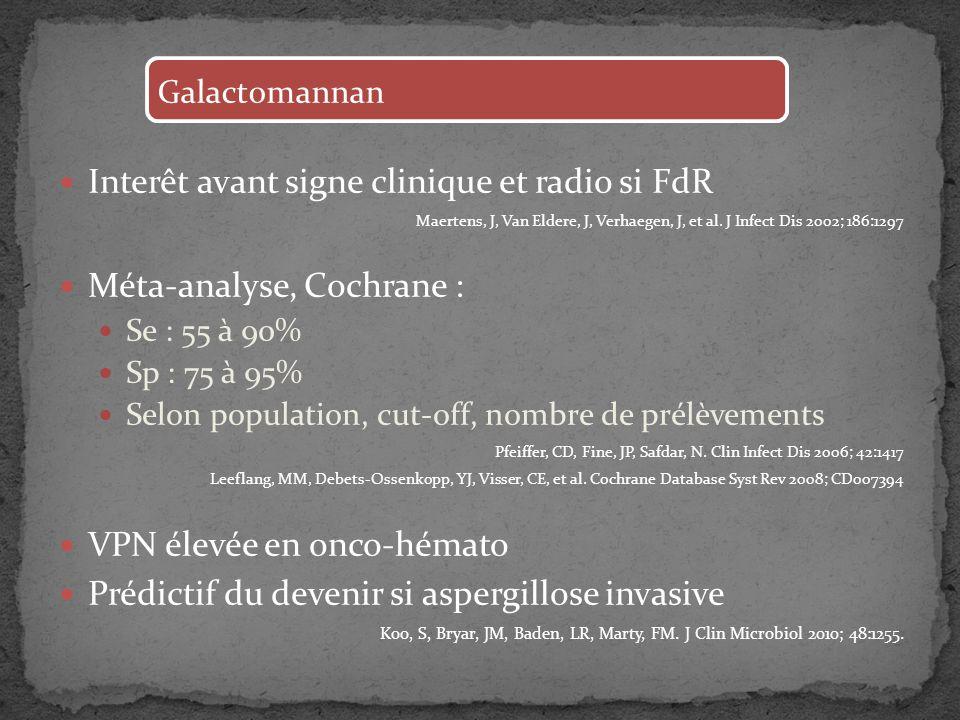 Interêt avant signe clinique et radio si FdR Méta-analyse, Cochrane :