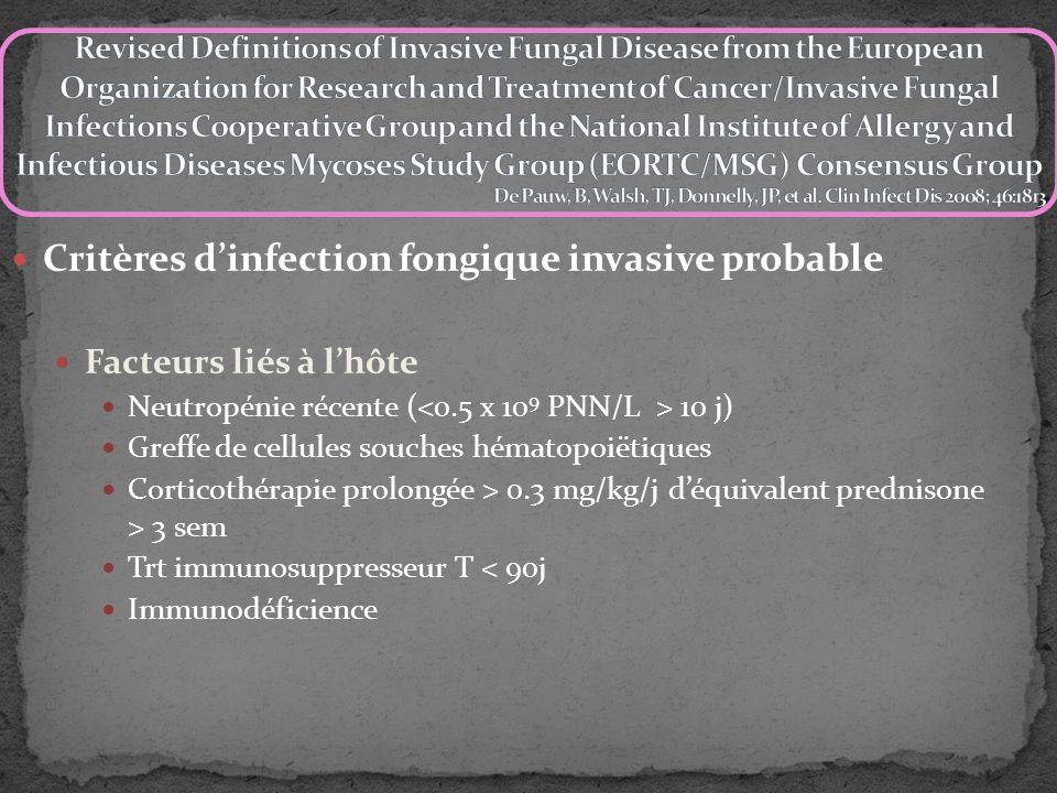 Critères d'infection fongique invasive probable