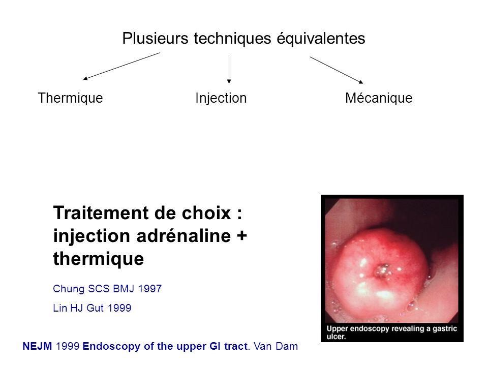 Traitement de choix : injection adrénaline + thermique