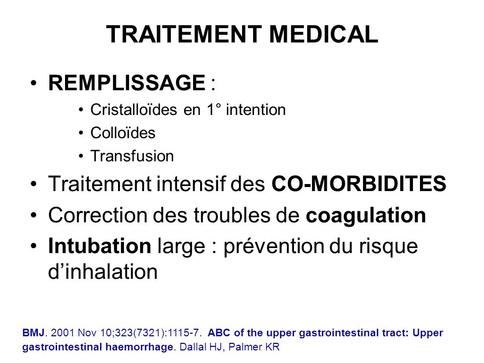 TRAITEMENT MEDICAL REMPLISSAGE : Traitement intensif des CO-MORBIDITES