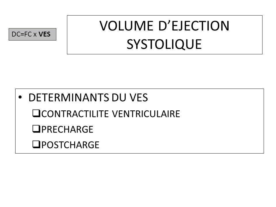 VOLUME D'EJECTION SYSTOLIQUE