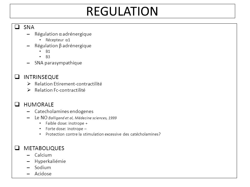 REGULATION SNA INTRINSEQUE HUMORALE METABOLIQUES