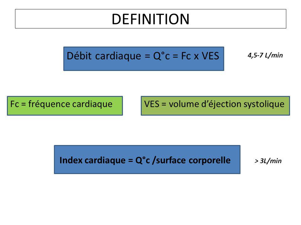 DEFINITION Débit cardiaque = Q°c = Fc x VES Fc = fréquence cardiaque