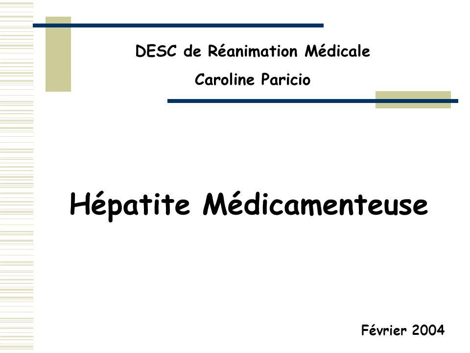 DESC de Réanimation Médicale Hépatite Médicamenteuse