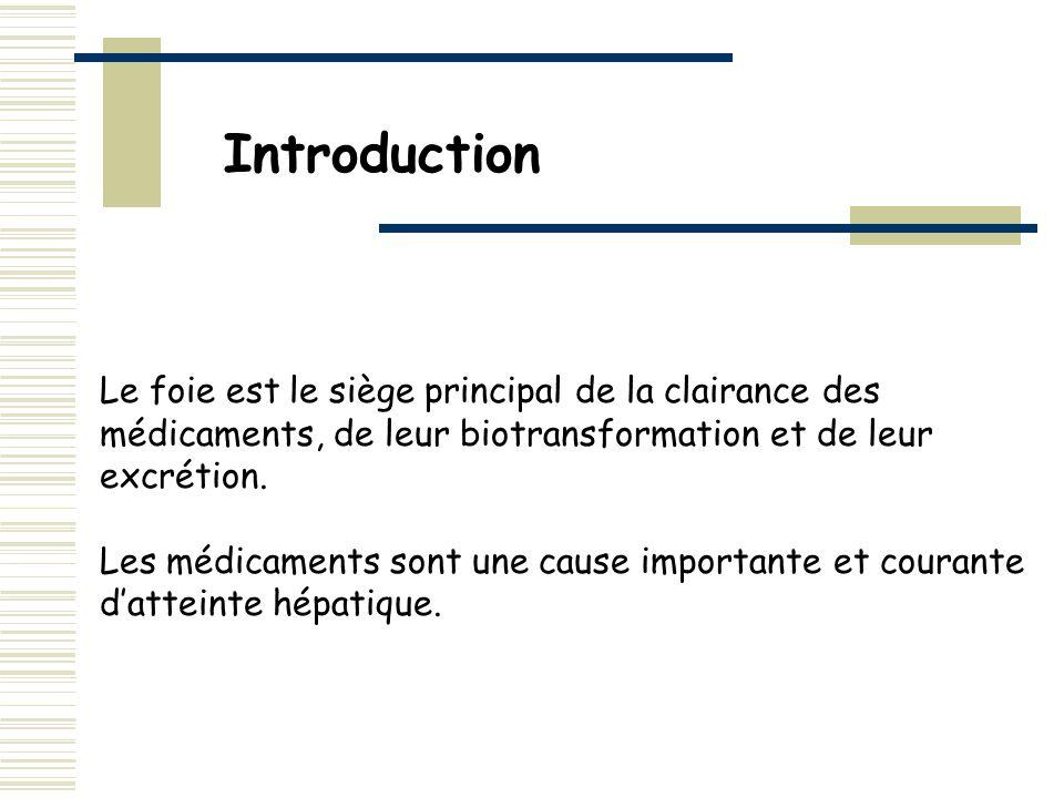 Introduction Le foie est le siège principal de la clairance des médicaments, de leur biotransformation et de leur excrétion.