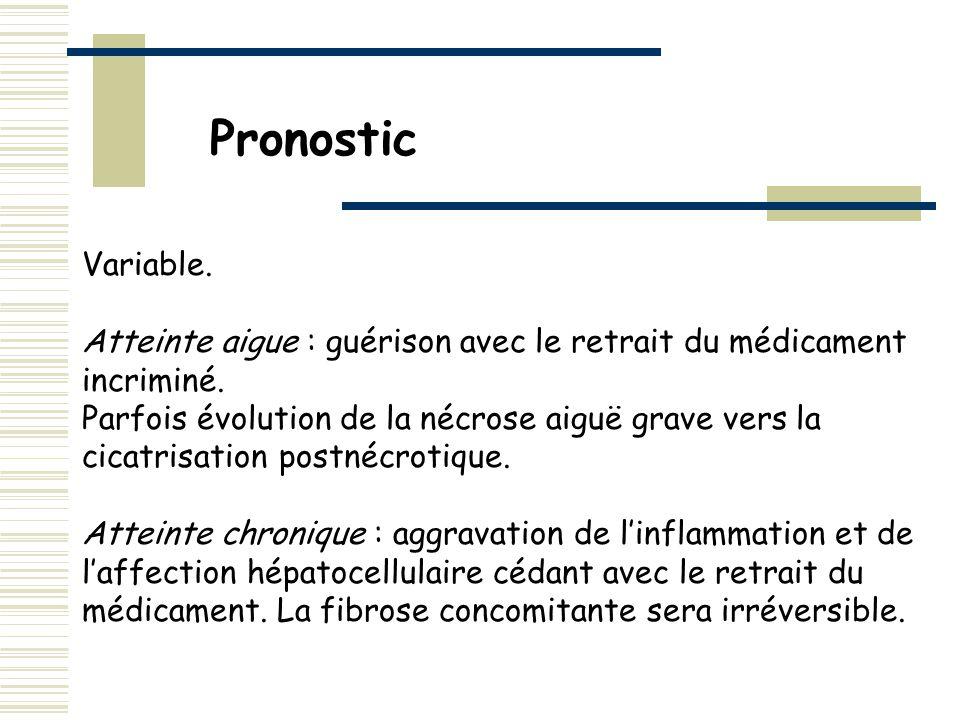 Pronostic Variable. Atteinte aigue : guérison avec le retrait du médicament incriminé.