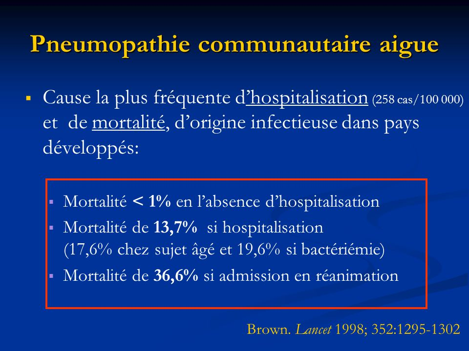 Pneumopathie communautaire aigue