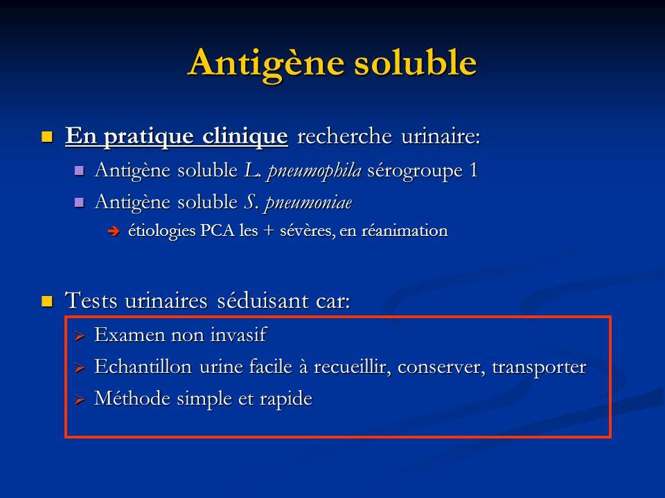 Antigène soluble En pratique clinique recherche urinaire: