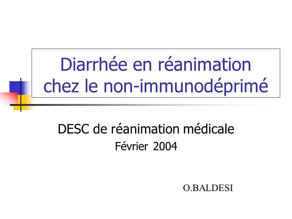 Diarrhée en réanimation chez le non-immunodéprimé