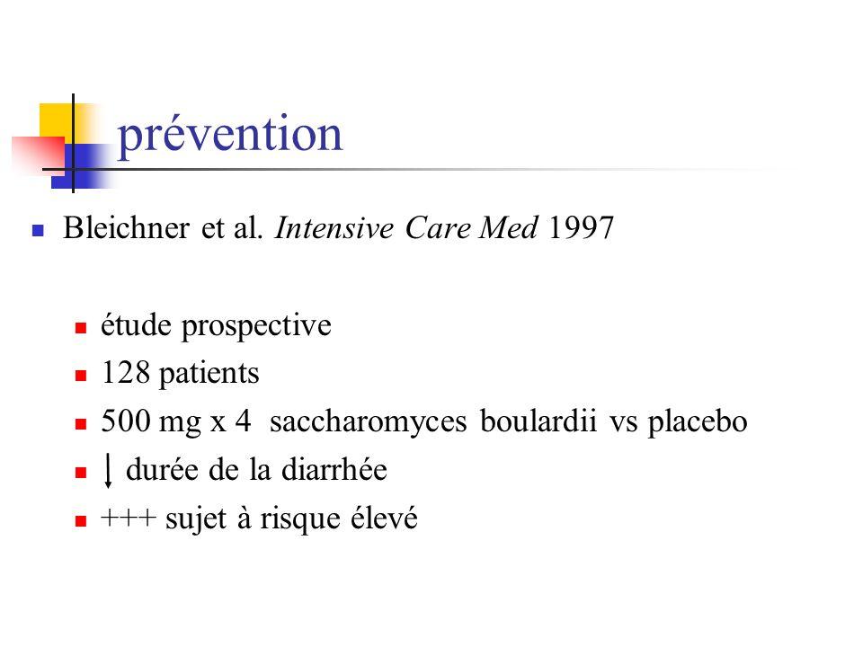 prévention Bleichner et al. Intensive Care Med 1997 étude prospective