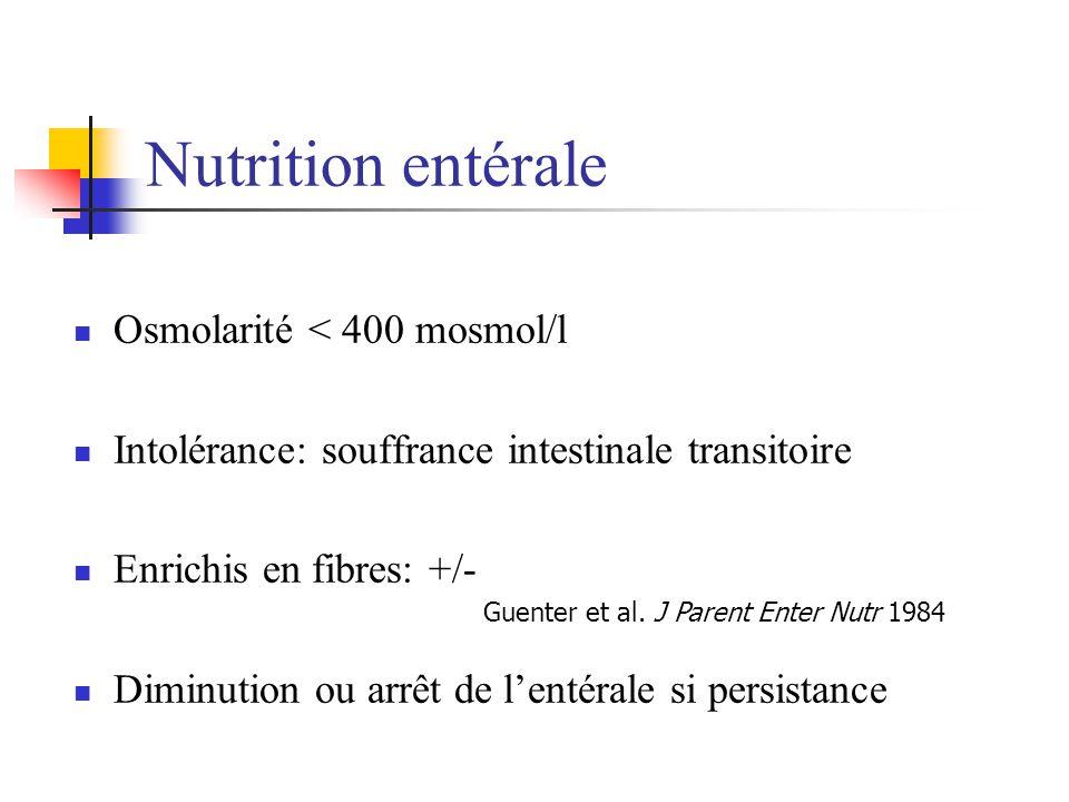 Nutrition entérale Osmolarité < 400 mosmol/l