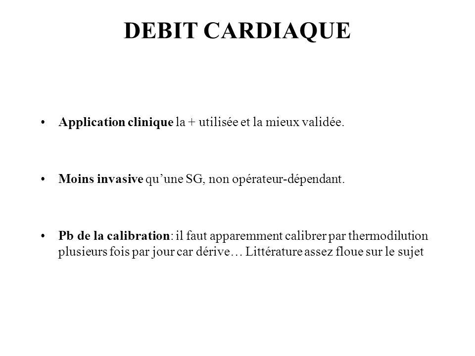 DEBIT CARDIAQUE Application clinique la + utilisée et la mieux validée. Moins invasive qu'une SG, non opérateur-dépendant.