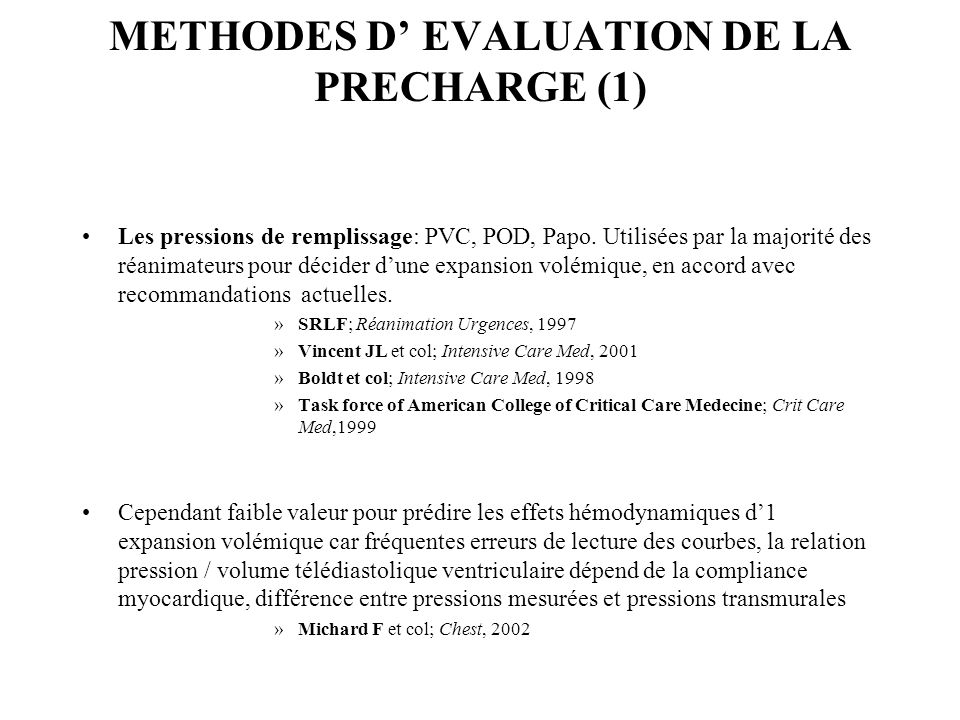 METHODES D' EVALUATION DE LA PRECHARGE (1)