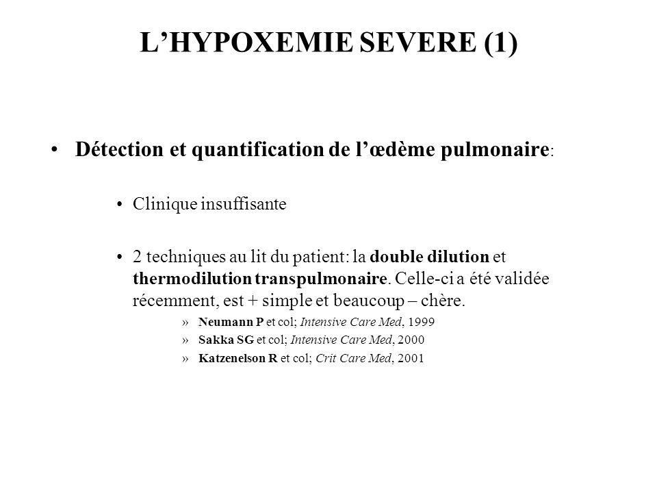 L'HYPOXEMIE SEVERE (1) Détection et quantification de l'œdème pulmonaire: Clinique insuffisante.