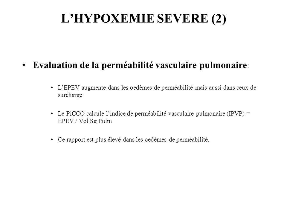 L'HYPOXEMIE SEVERE (2) Evaluation de la perméabilité vasculaire pulmonaire: