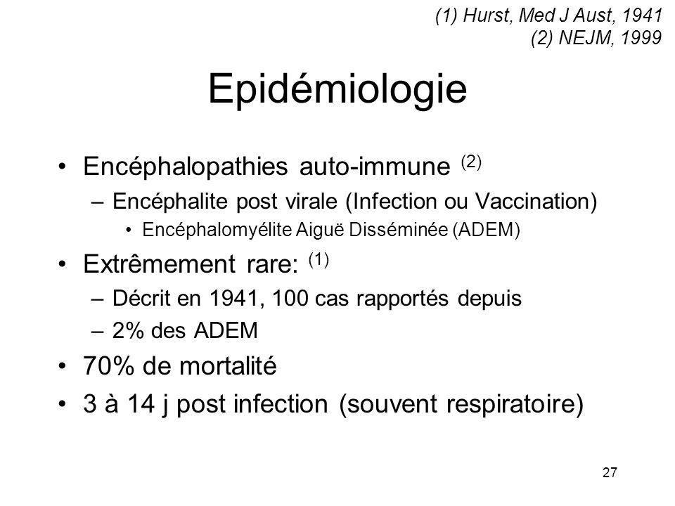 Epidémiologie Encéphalopathies auto-immune (2) Extrêmement rare: (1)