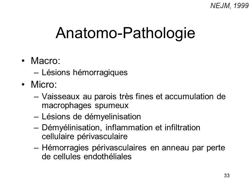Anatomo-Pathologie Macro: Micro: Lésions hémorragiques