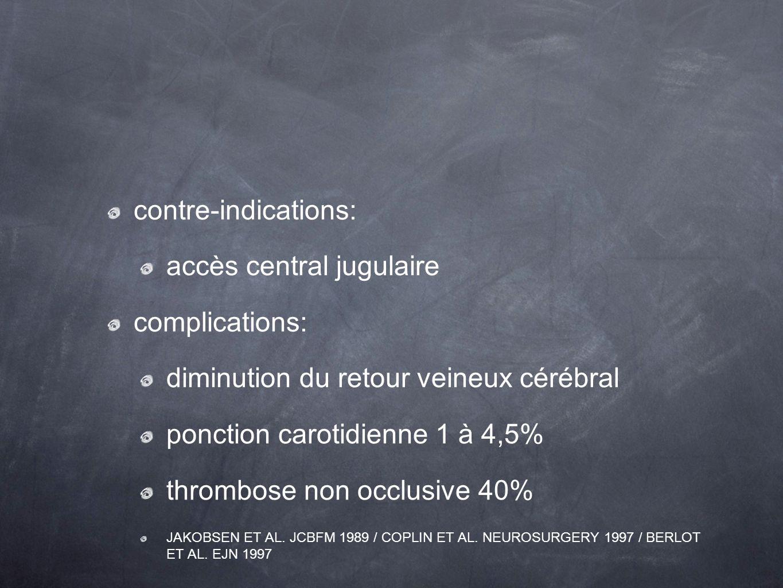 accès central jugulaire complications: