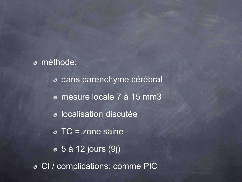 méthode: dans parenchyme cérébral. mesure locale 7 à 15 mm3. localisation discutée. TC = zone saine.