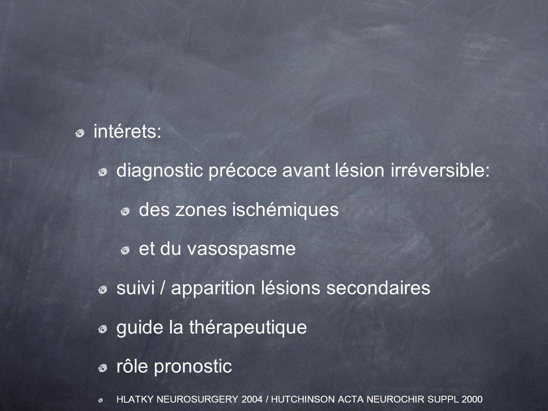 diagnostic précoce avant lésion irréversible: des zones ischémiques