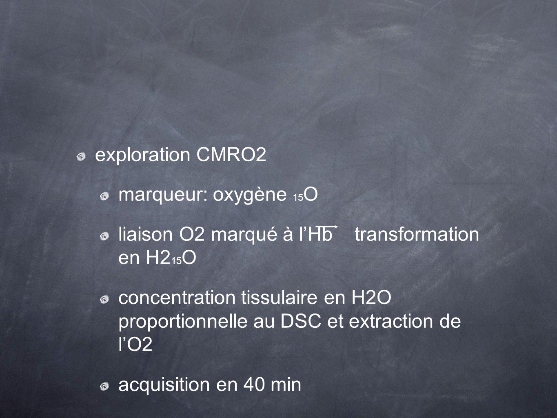 exploration CMRO2 marqueur: oxygène 15O. liaison O2 marqué à l'Hb transformation en H215O.