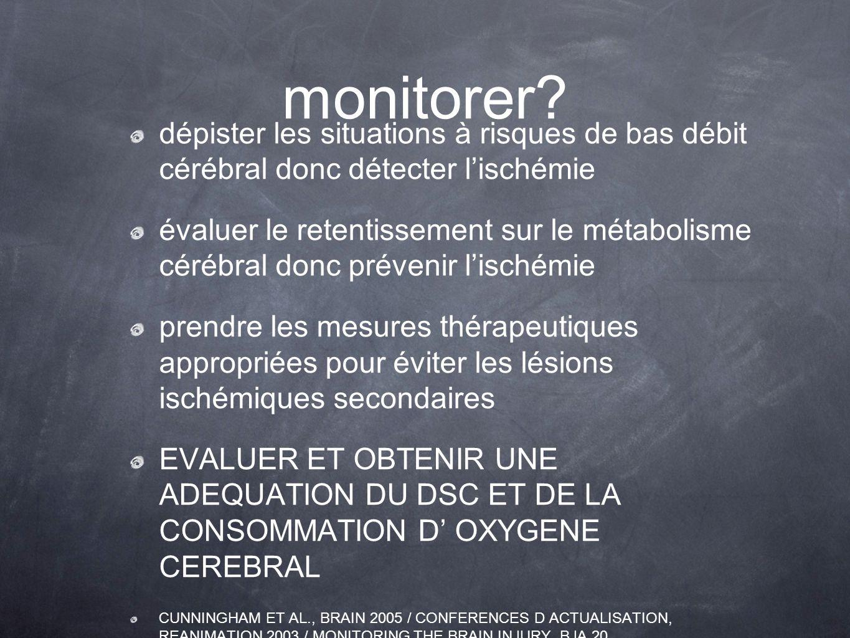 monitorer dépister les situations à risques de bas débit cérébral donc détecter l'ischémie.