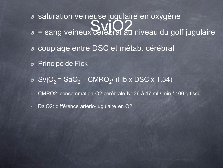 SvjO2 saturation veineuse jugulaire en oxygène