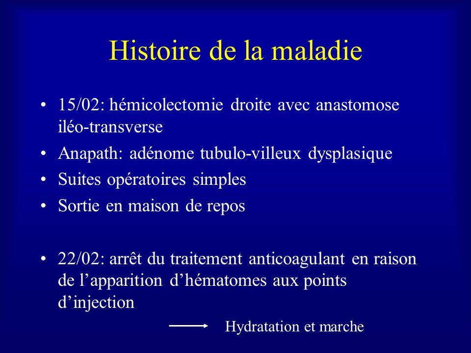 Histoire de la maladie 15/02: hémicolectomie droite avec anastomose iléo-transverse. Anapath: adénome tubulo-villeux dysplasique.