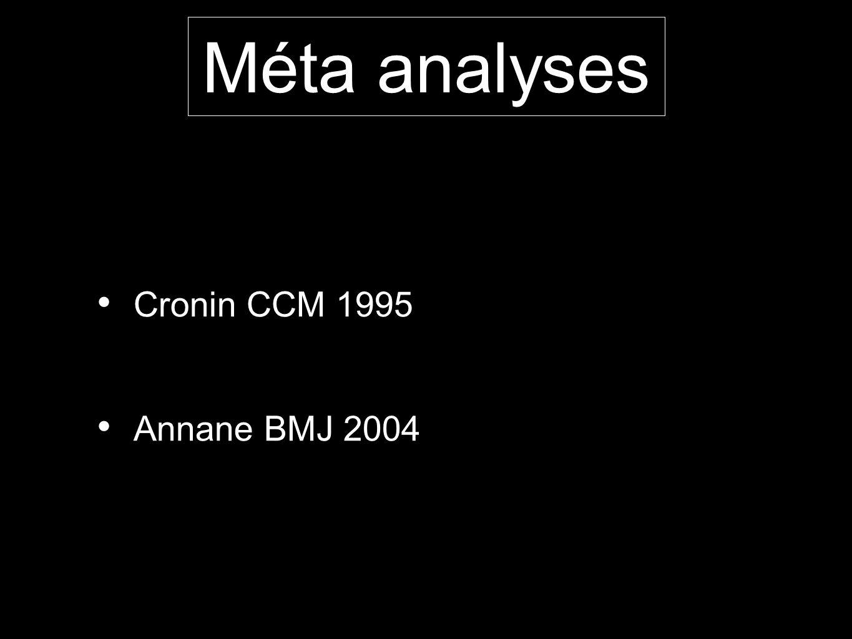 Méta analyses Cronin CCM 1995 Annane BMJ 2004