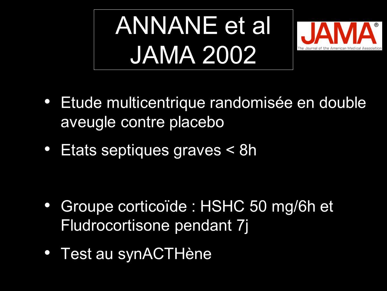 ANNANE et al JAMA 2002 Etude multicentrique randomisée en double aveugle contre placebo. Etats septiques graves < 8h.