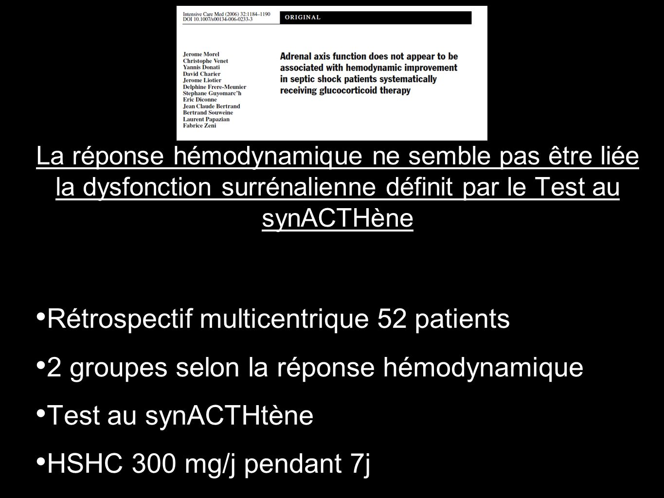 Rétrospectif multicentrique 52 patients