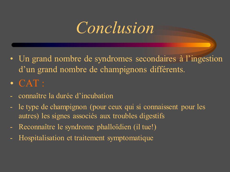 Conclusion Un grand nombre de syndromes secondaires à l'ingestion d'un grand nombre de champignons différents.