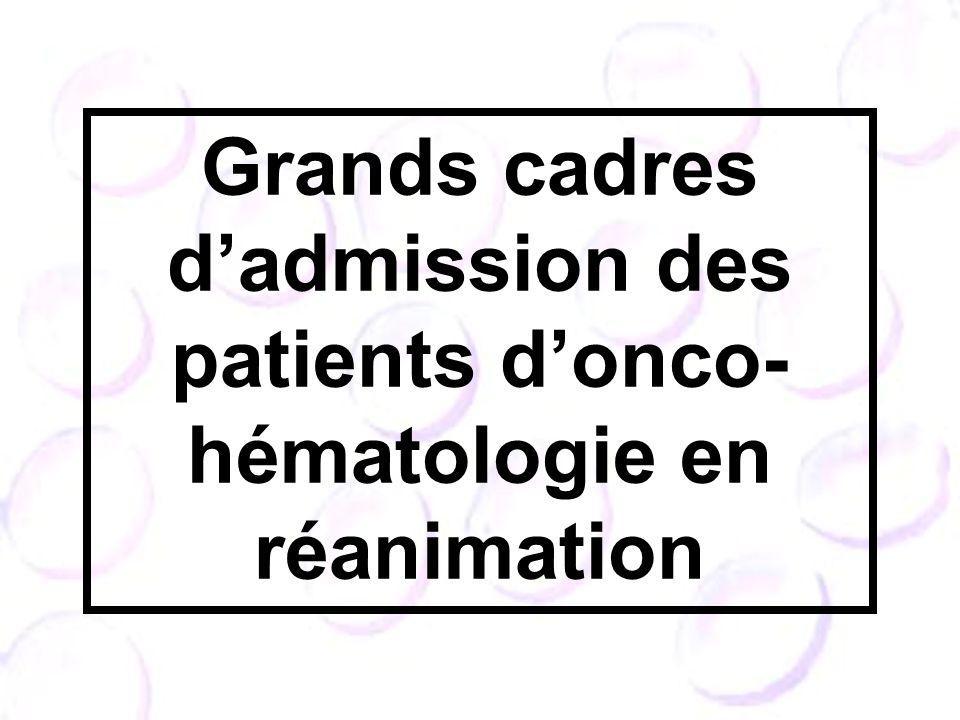 Grands cadres d'admission des patients d'onco- hématologie en réanimation