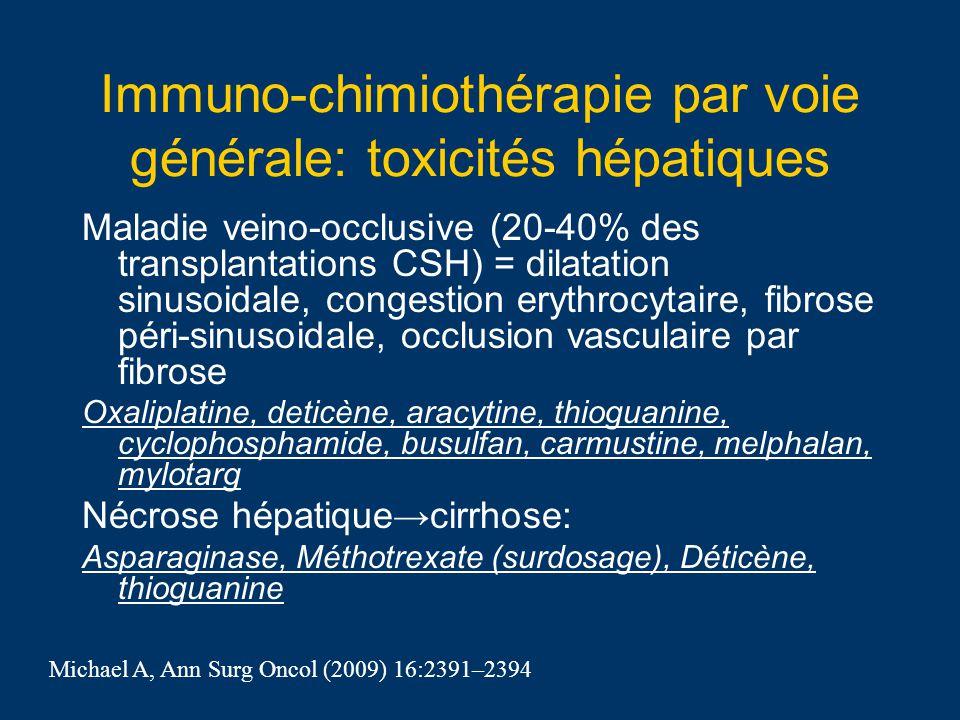 Immuno-chimiothérapie par voie générale: toxicités hépatiques