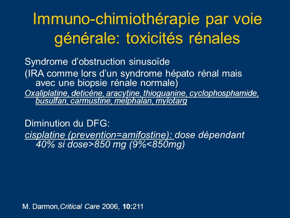 Immuno-chimiothérapie par voie générale: toxicités rénales