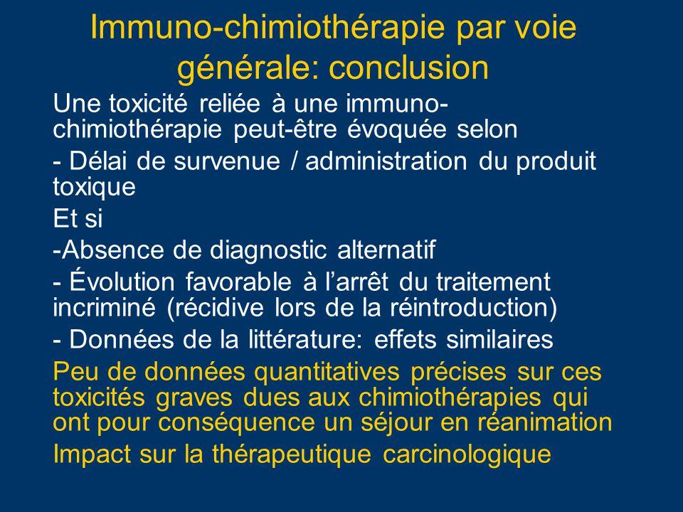 Immuno-chimiothérapie par voie générale: conclusion