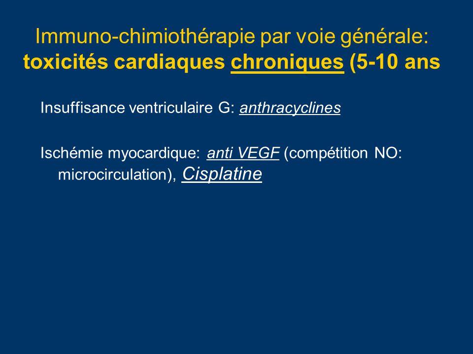 Immuno-chimiothérapie par voie générale: toxicités cardiaques chroniques (5-10 ans