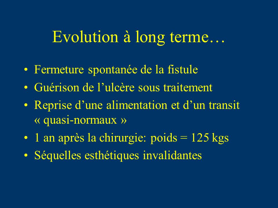 Evolution à long terme…