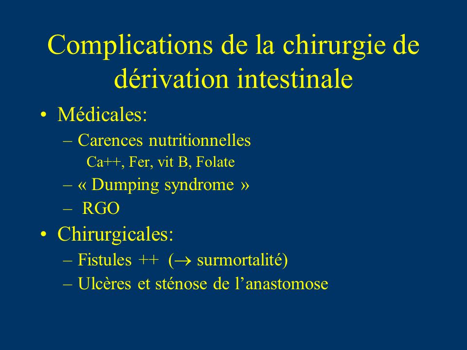 Complications de la chirurgie de dérivation intestinale