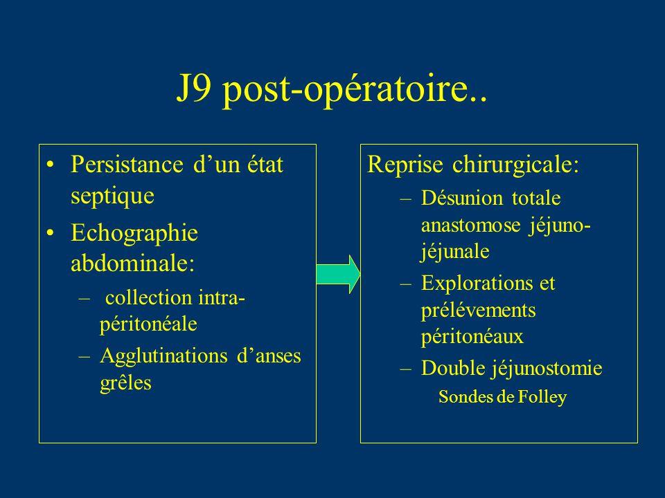 J9 post-opératoire.. Persistance d'un état septique