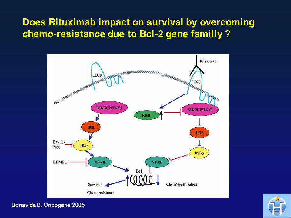 Does Rituximab impact on survival by overcoming chemo-resistance due to Bcl-2 gene familly