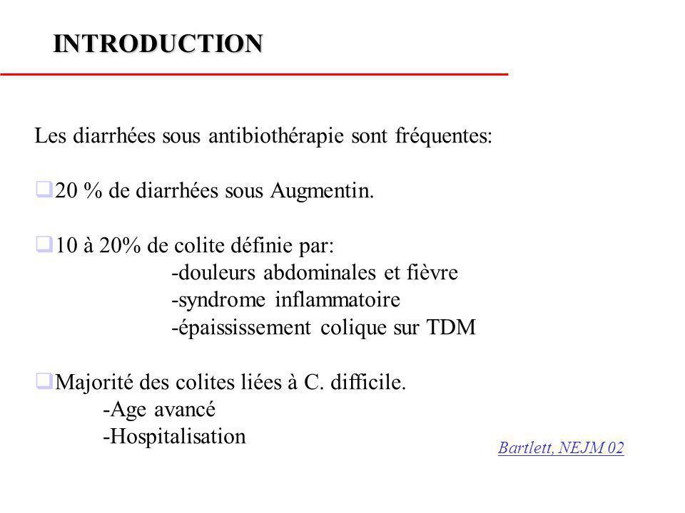 INTRODUCTION Les diarrhées sous antibiothérapie sont fréquentes:
