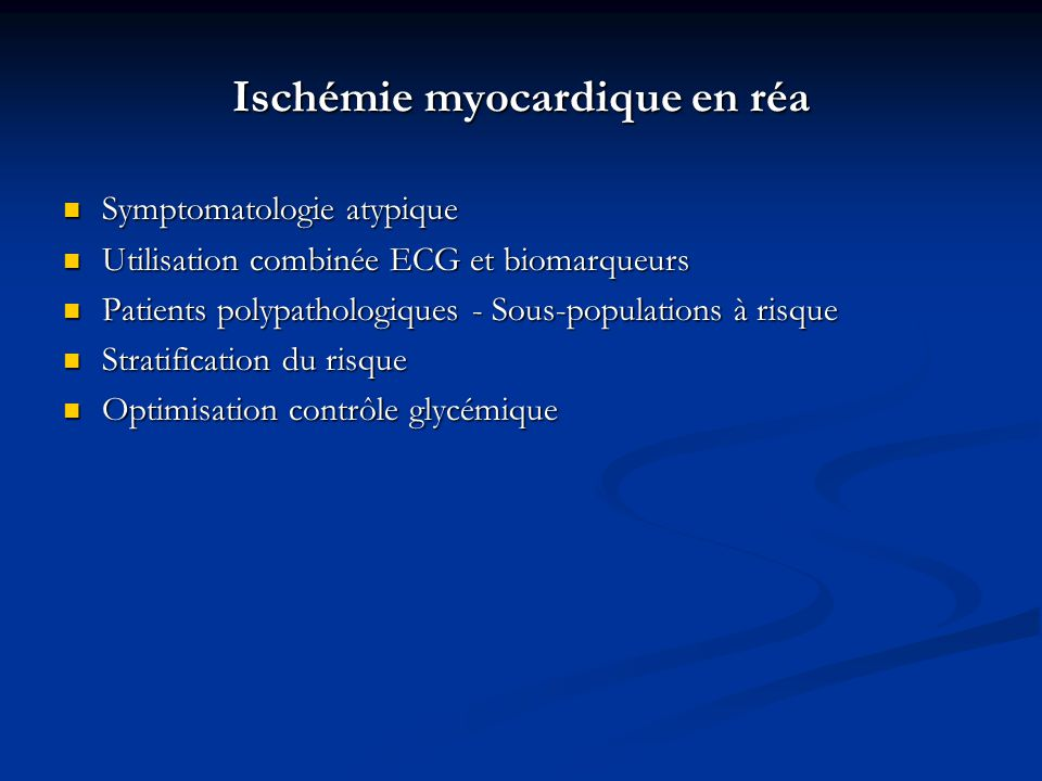 Ischémie myocardique en réa