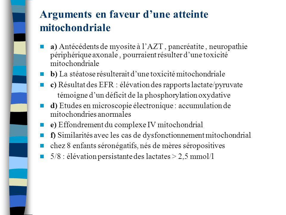 Arguments en faveur d'une atteinte mitochondriale