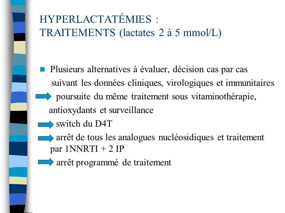 HYPERLACTATÉMIES : TRAITEMENTS (lactates 2 à 5 mmol/L)