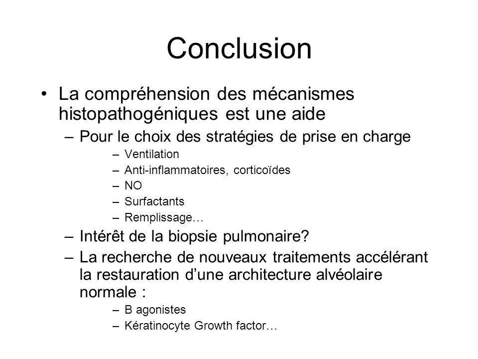 Conclusion La compréhension des mécanismes histopathogéniques est une aide. Pour le choix des stratégies de prise en charge.