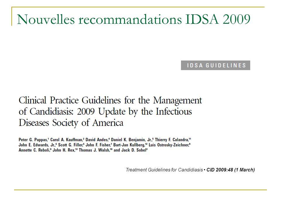 Nouvelles recommandations IDSA 2009