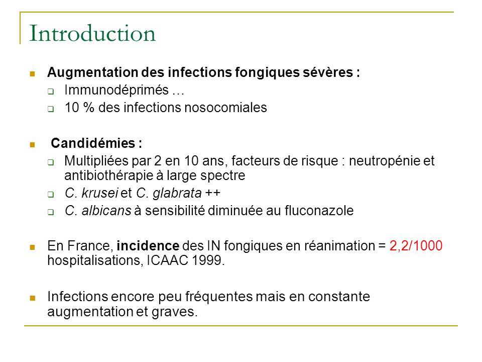 Introduction Augmentation des infections fongiques sévères : Immunodéprimés … 10 % des infections nosocomiales.