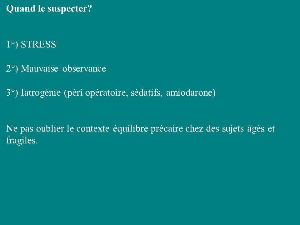Quand le suspecter 1°) STRESS. 2°) Mauvaise observance. 3°) Iatrogénie (péri opératoire, sédatifs, amiodarone)