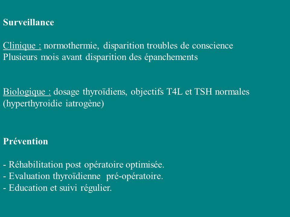 Surveillance Clinique : normothermie, disparition troubles de conscience. Plusieurs mois avant disparition des épanchements.